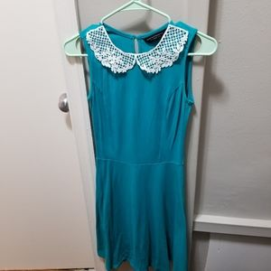 Teal Dorothy Perkins dress with lace collar